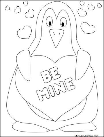 361x476 This Is A Valentine's Day Penguin Coloring Sheet Available