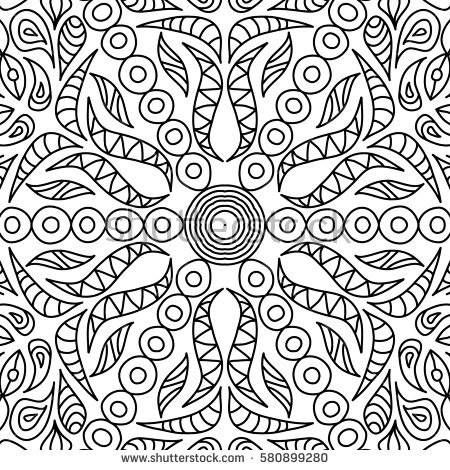 450x470 Adult Coloring Book Page Seamless Ornate Black And White Pattern