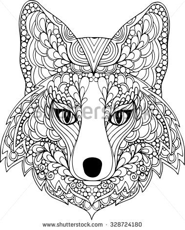 379x470 Hand Drawn Outline Ornate Fox Head Illustration Decorated