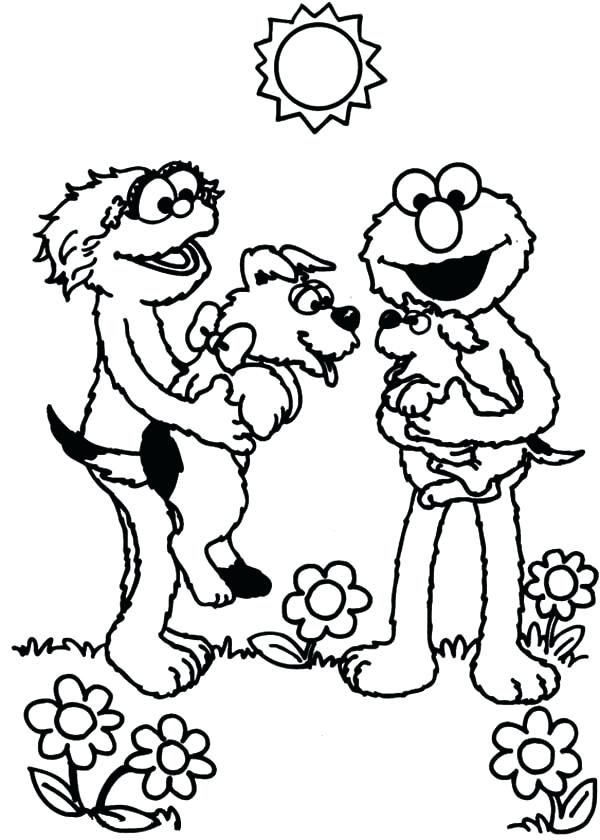 600x840 Oscar Coloring Pages And Playing With Puppy In Sesame Street