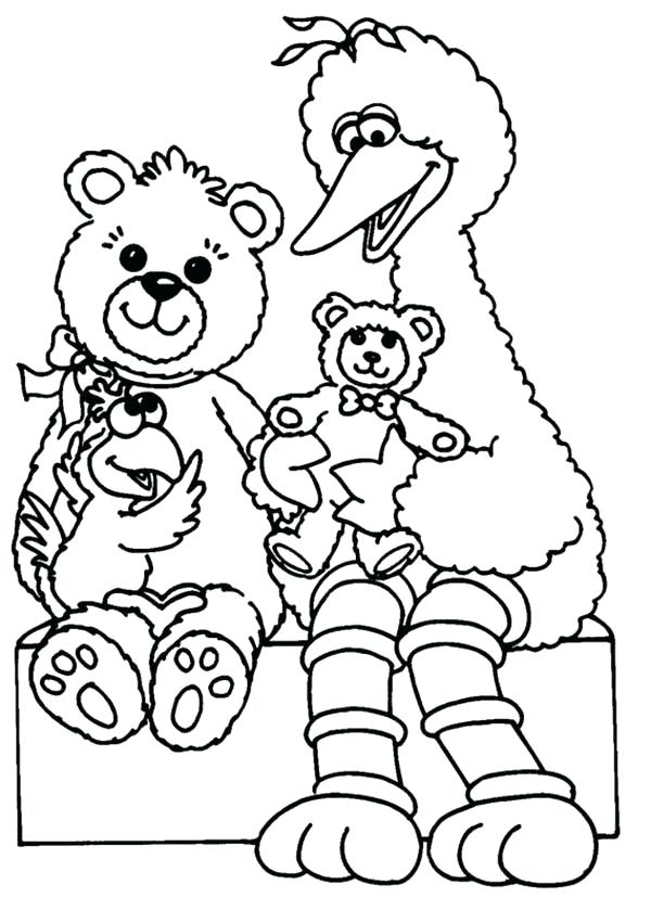 600x839 Oscar The Grouch Coloring Page Big Playing With Teddy Bear