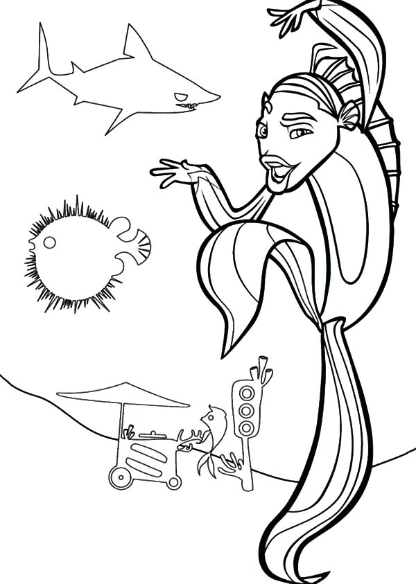 600x843 Shark Tale Oscar Kung Fu Style Coloring Pages Batch Coloring