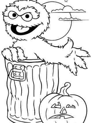 319x425 Sesame Street Halloween Coloring Pages My Family Fun Sesame Street