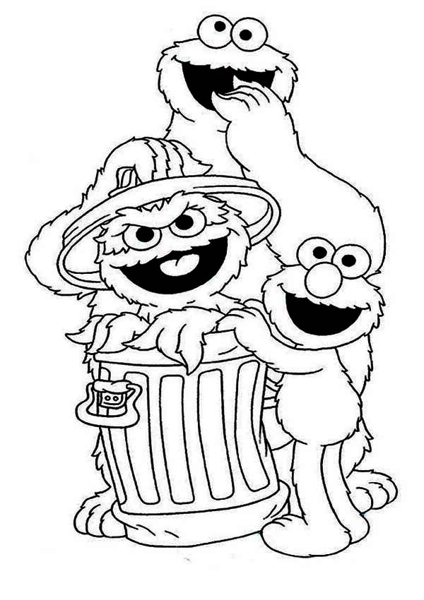 600x850 Cookie And Elmo With Oscar In Garbage Can In Sesame Street