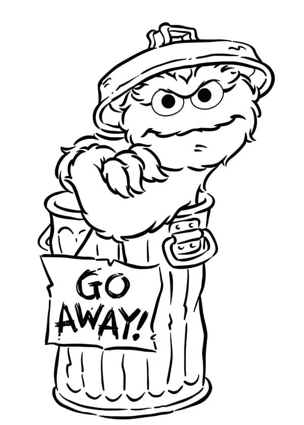 600x839 Oscar The Grouch Coloring Page Say Go Away In Sesame Street