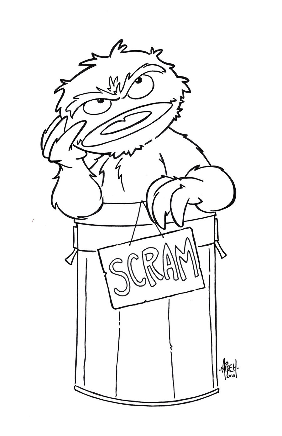 900x1390 Oscar The Grouch Coloring Pages Newyork