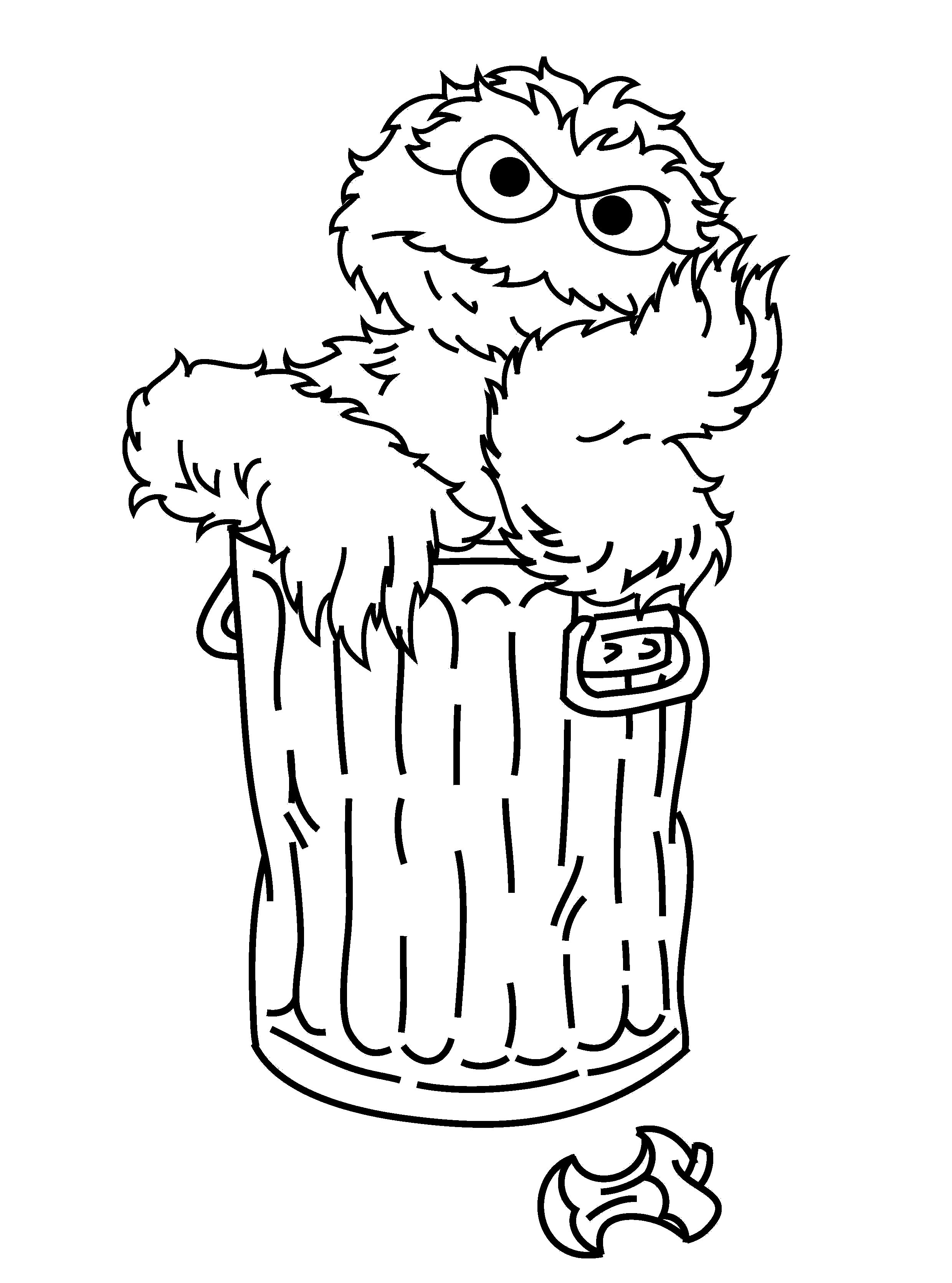 2480x3341 Oscar The Grouch Daydream Sesame Street Coloring Pages