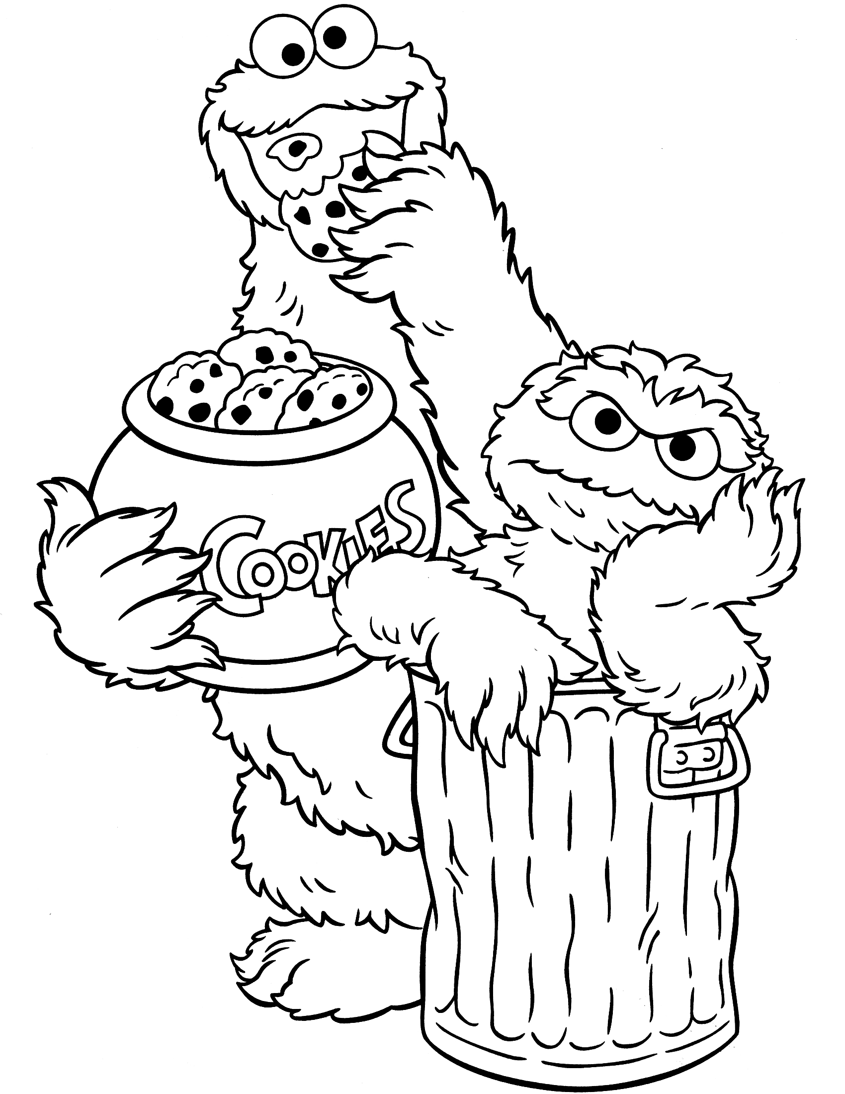 1700x2200 Oscar The Grouch Coloring Pages Collection Coloring For Kids