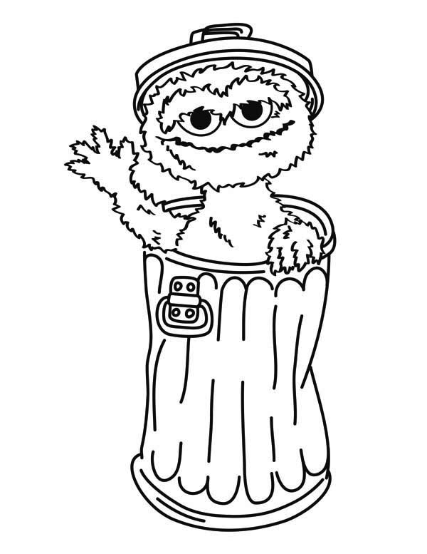 600x777 Oscar The Grouch From Sesame Street Coloring Page Color Luna