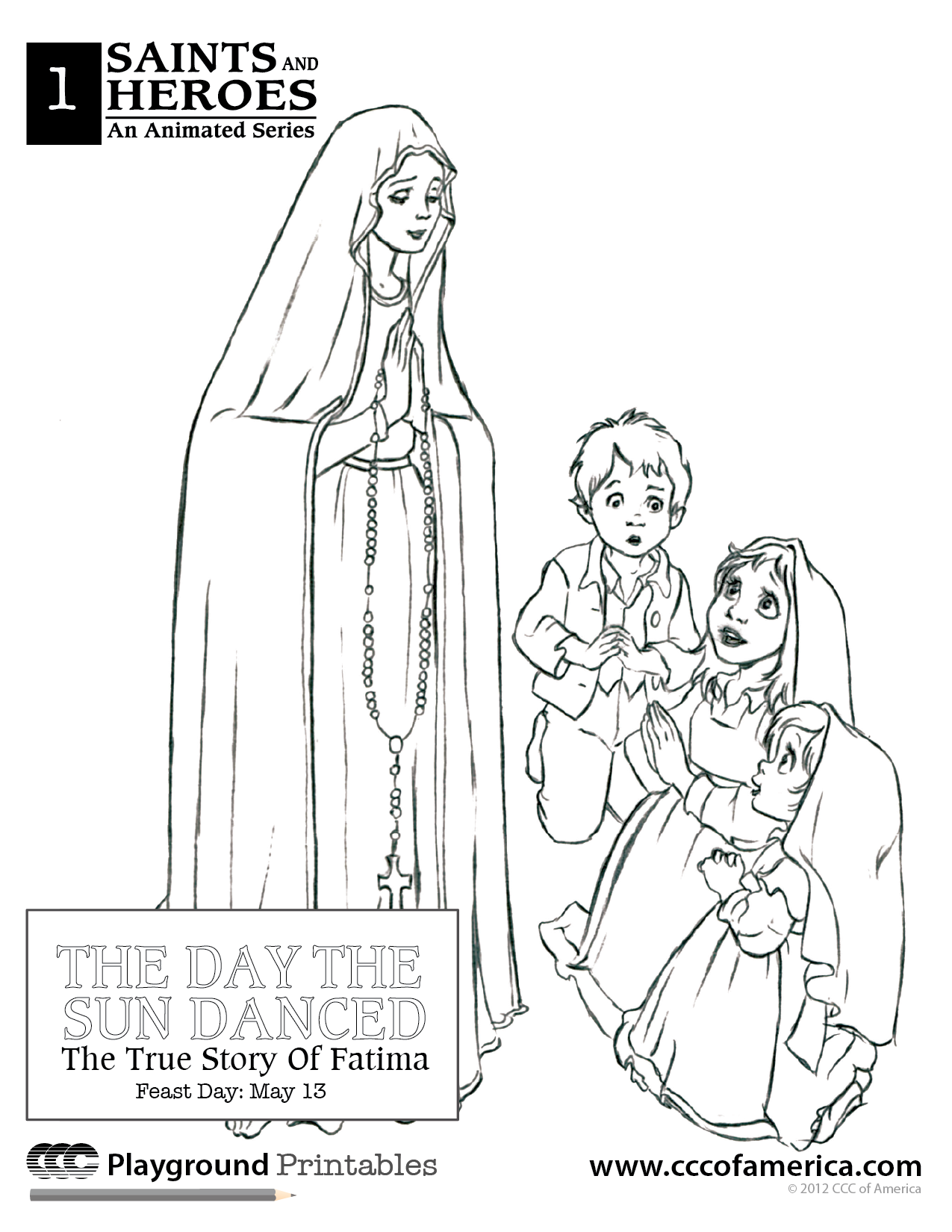 1275x1650 Our Lady Of Fatima Coloring Books Entertain