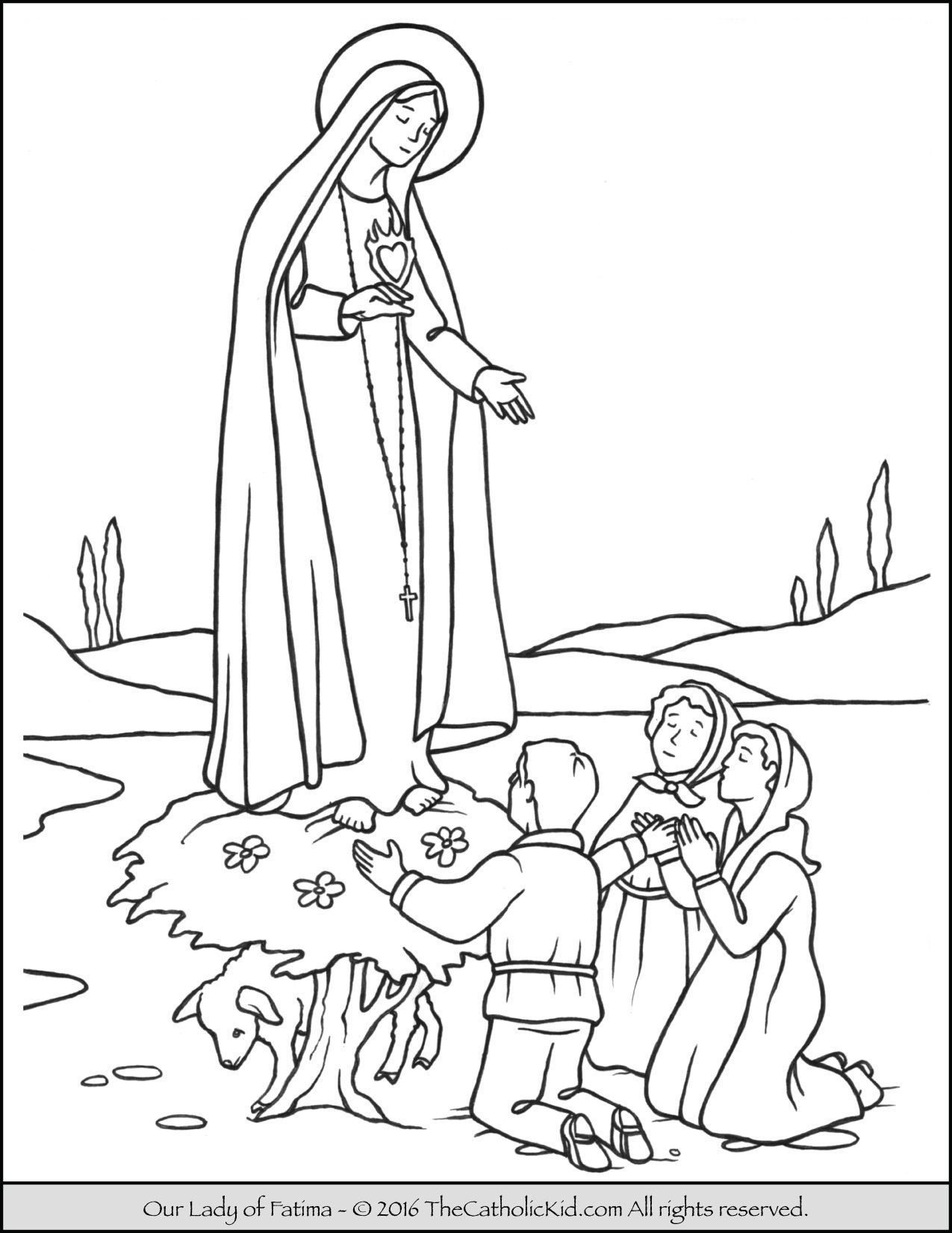 1275x1650 Our Lady Of Fatima Coloring Page Mary Coloring Pages