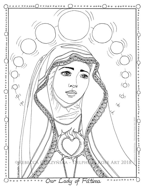 570x738 Our Lady Of Fatima Coloring Page Mary Queen Of Heaven Marian