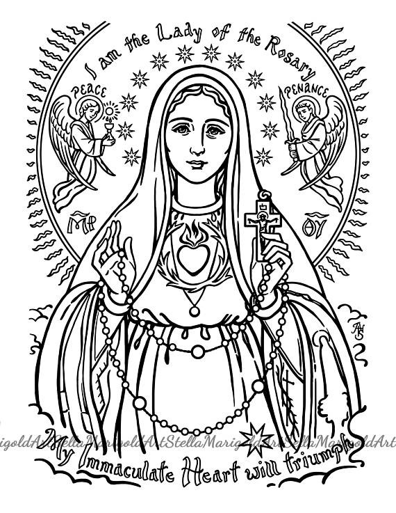 570x737 Our Lady Of Fatima Coloring Page