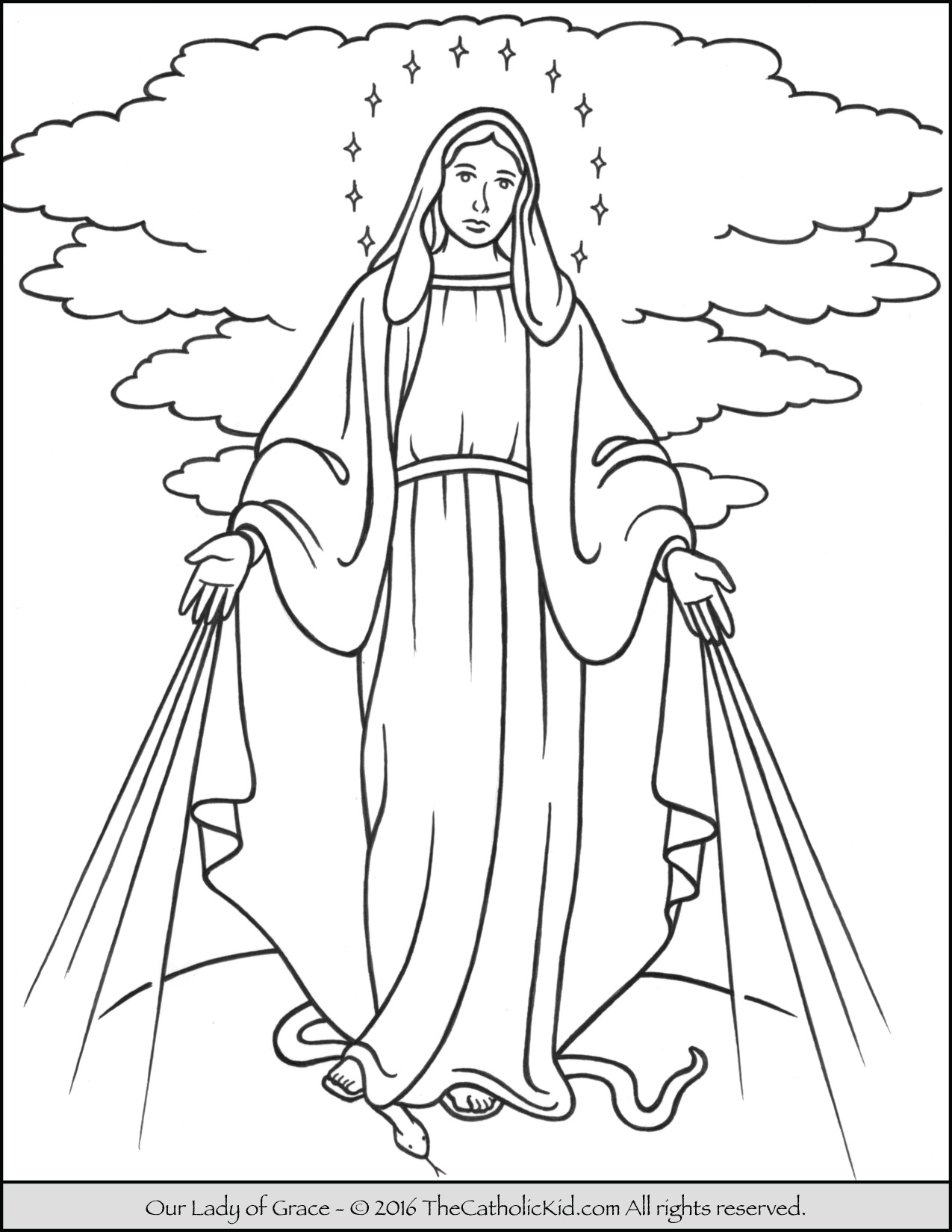 1275x1650 Our Lady Of Grace Coloring Page Mary