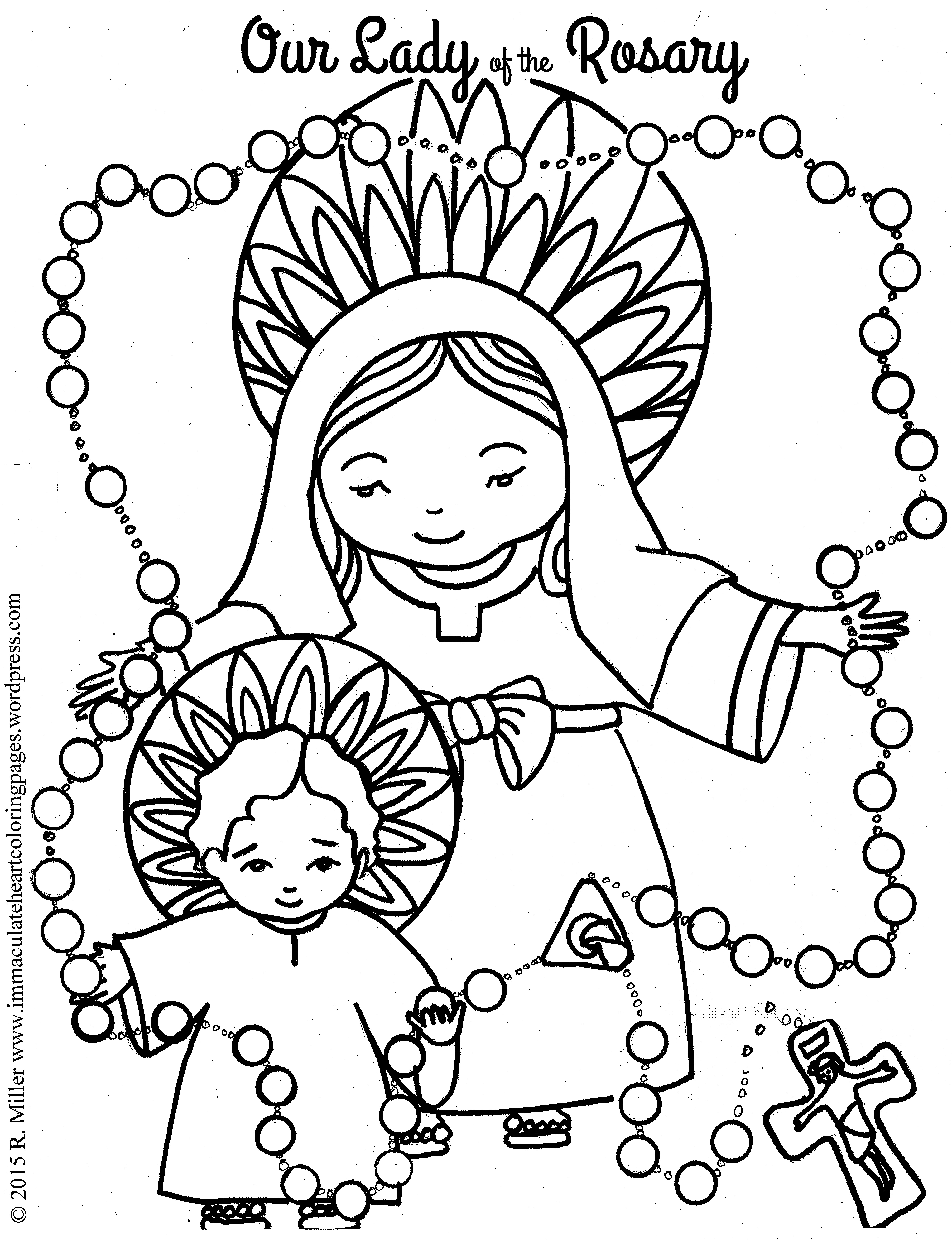 4958x6458 Our Lady Of The Rosary Coloring Page Immaculate Heart Coloring Pages
