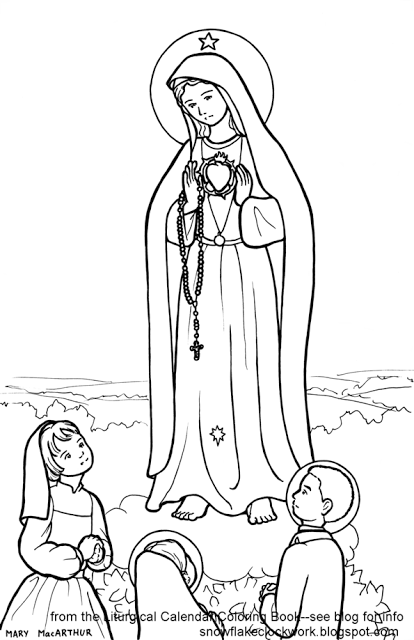 414x640 Snowflake Clockwork Our Lady Of Fatima Coloring Page