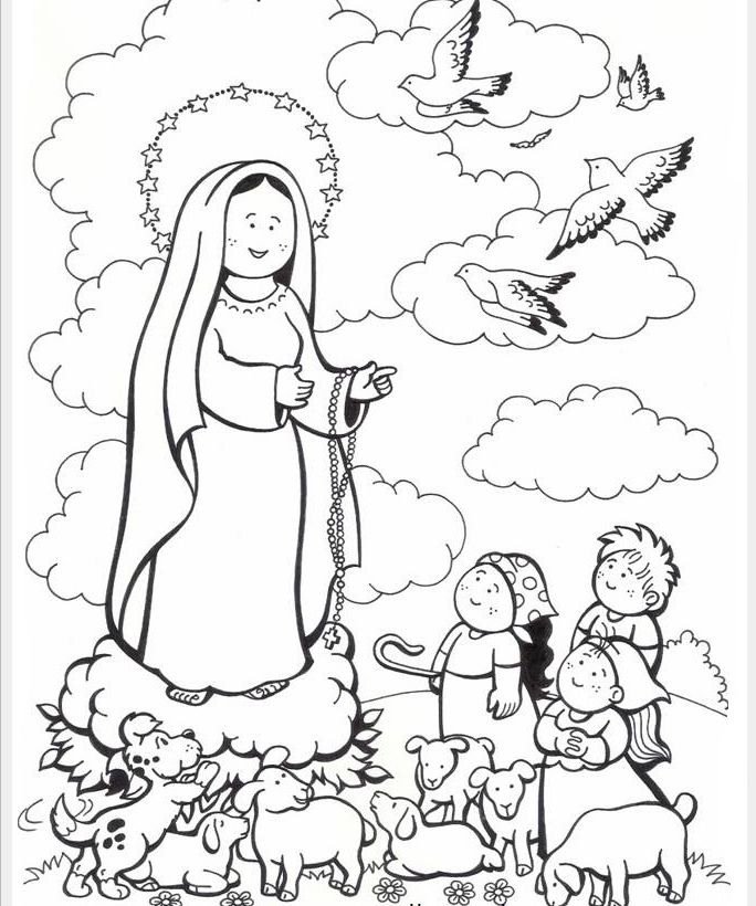 684x820 The Cutest Our Lady Of Fatima Coloring Page Catholic Kids