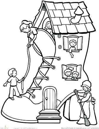 336x440 Old Lady Who Lived In A Shoe Coloring Page