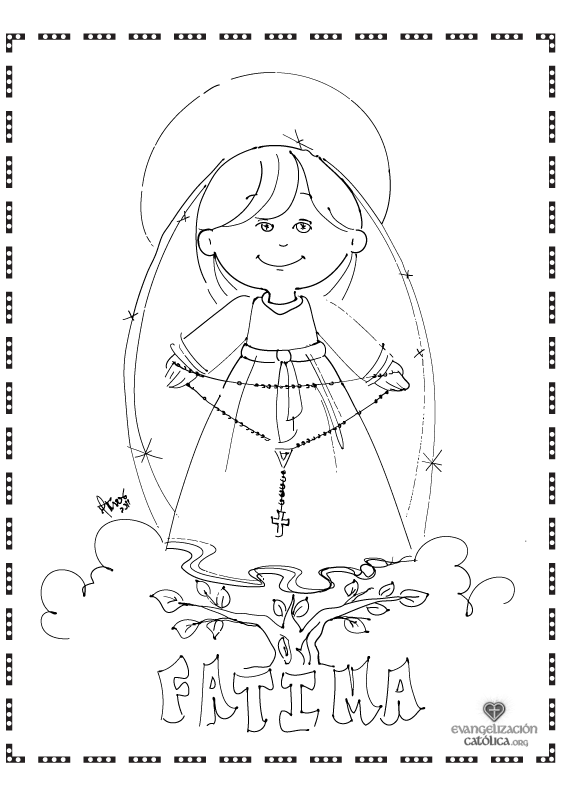 563x794 Cute Coloring Page For Our Lady Of The Rosary Perfect For October