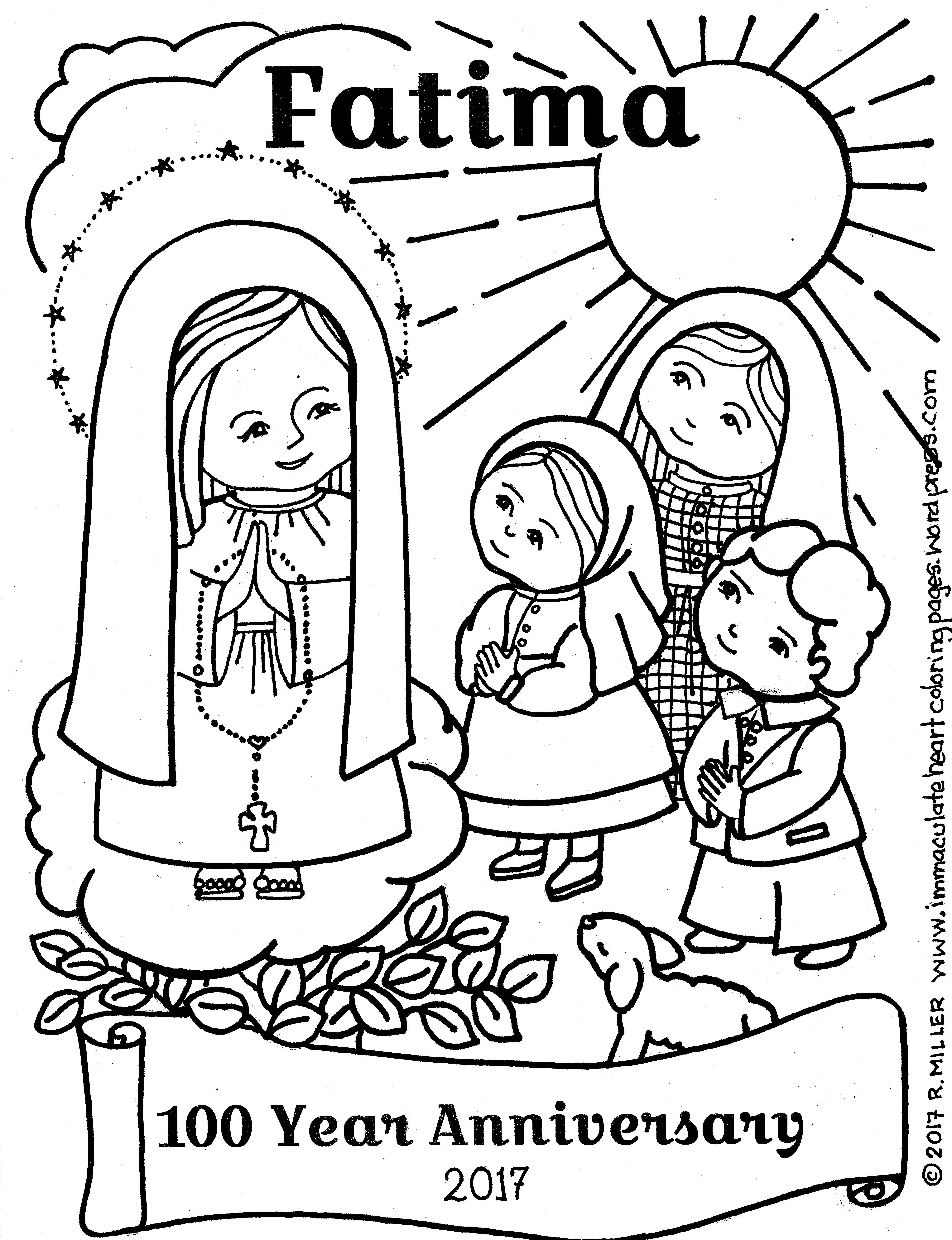 4958x6458 Fatima Year Anniversary Coloring Page Immaculate Heart