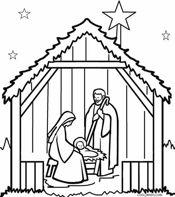 600x677 Printable Nativity Scene Coloring Pages For Kids