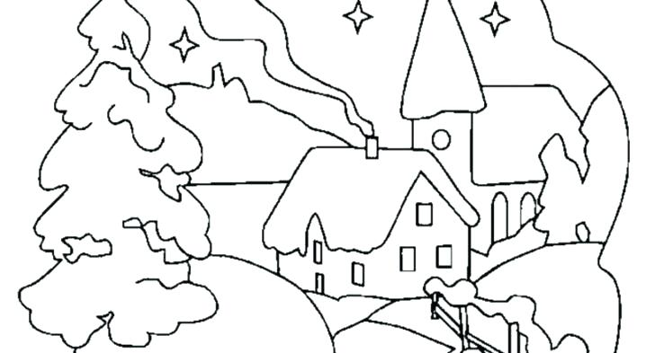 728x393 Free Winter Scene Coloring Pages Printable Of Scenes To Print