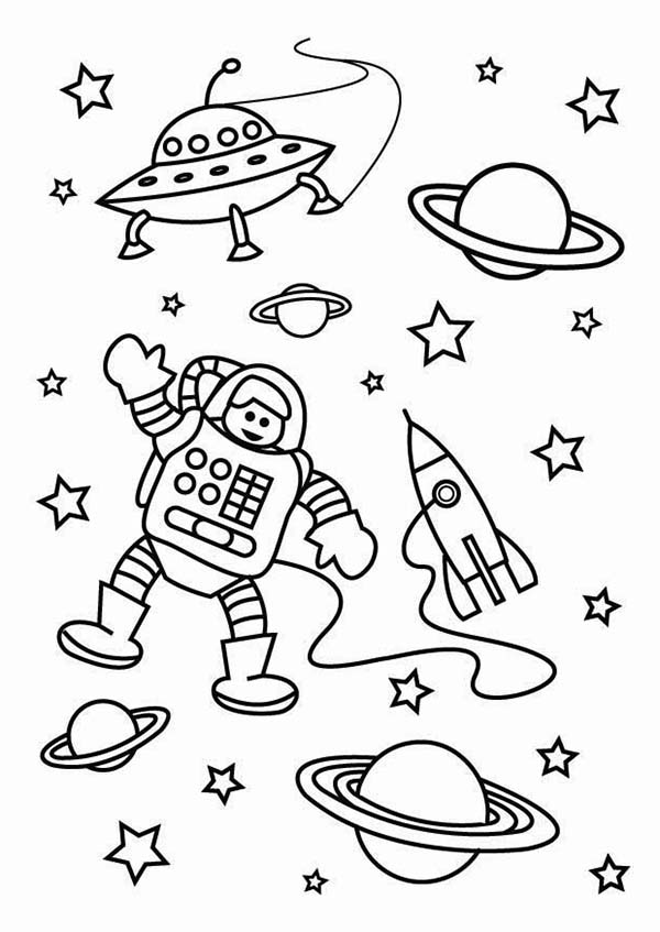 600x847 The Astronaut On The Outer Space Mission Coloring Page