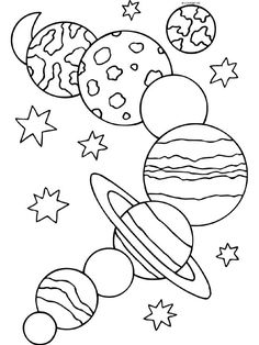 236x314 Space, Rocket, Planets Coloring Page For Kids Para