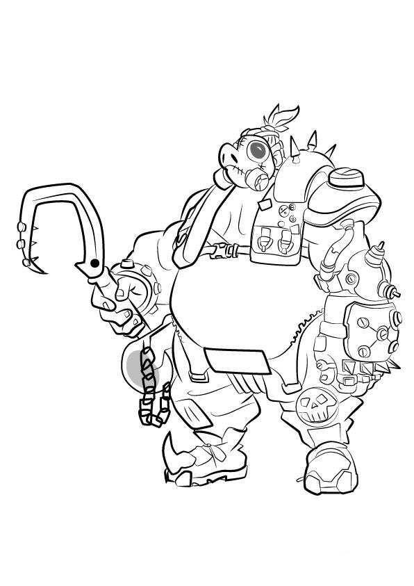 596x843 Kids N Coloring Page Overwatch Road Hog Silhouette