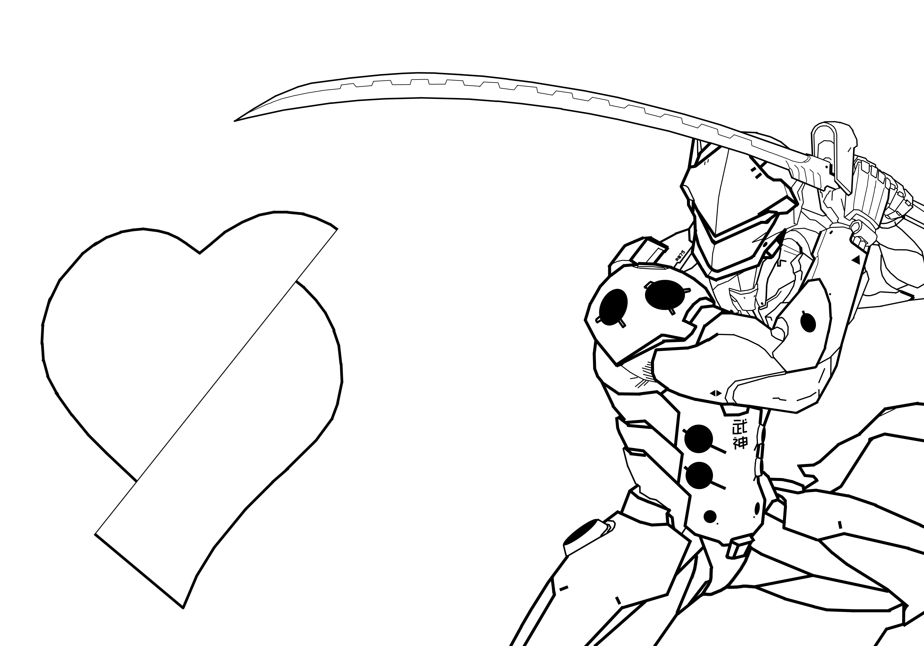 3087x2161 New Overwatch Genji Coloring Pages Overwatch Hanzo Coloring Pages