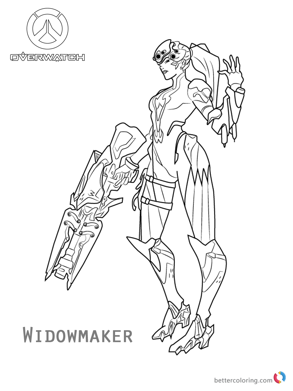 960x1280 Widowmaker From Overwatch Coloring Pages