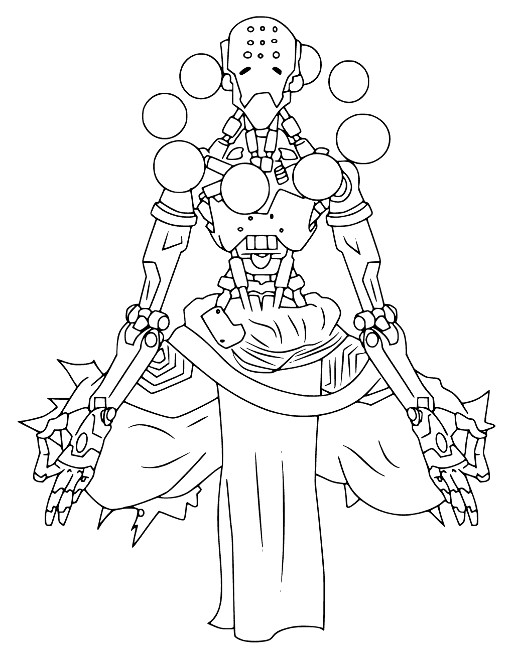 1024x1300 Zenyatta From Overwatch Coloring Page