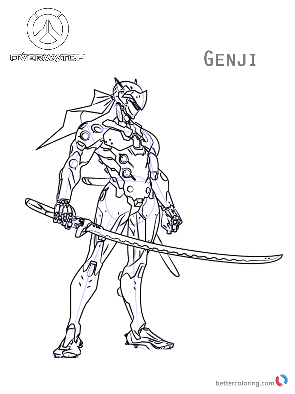 960x1280 Genji From Overwatch Coloring Pages