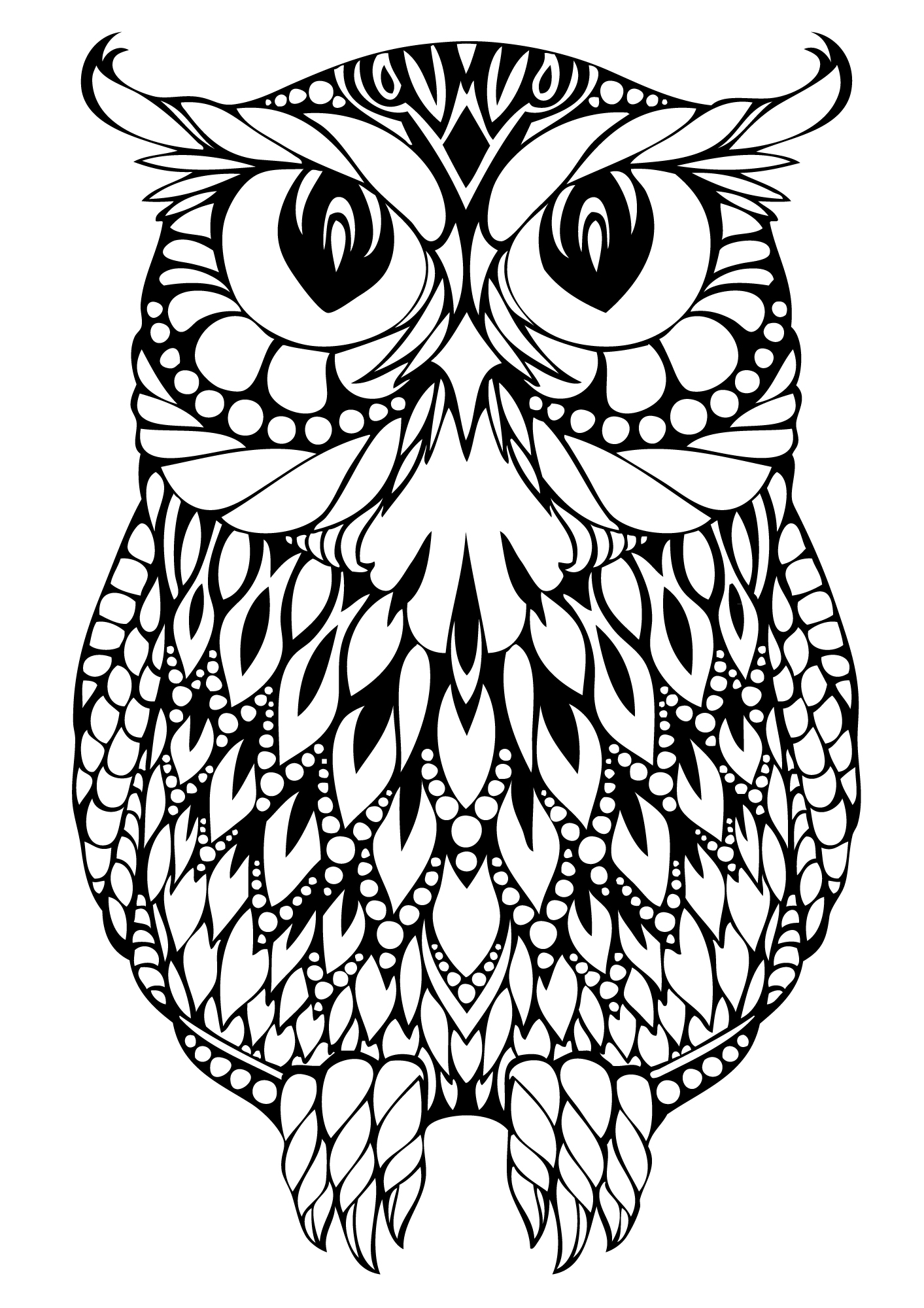 1413x2000 Adult Owl Coloring Page