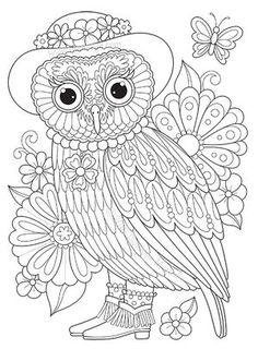 236x320 Owl Coloring Page From Thaneeya Mcardle's Groovy Owls Coloring