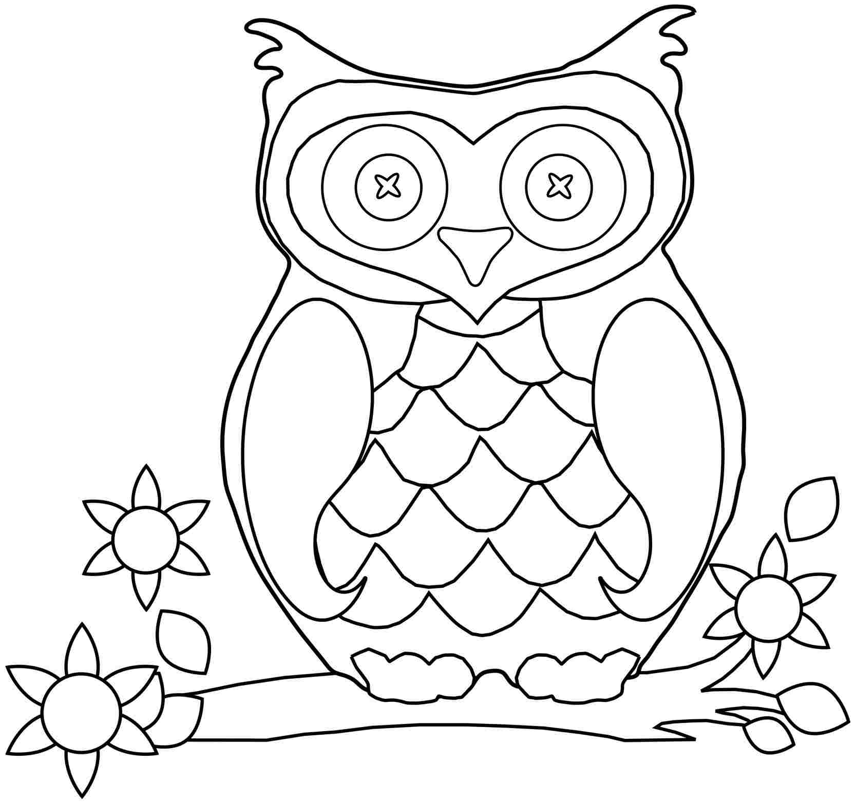 1663x1562 Simple Picture Of An Owl To Color Printable Co