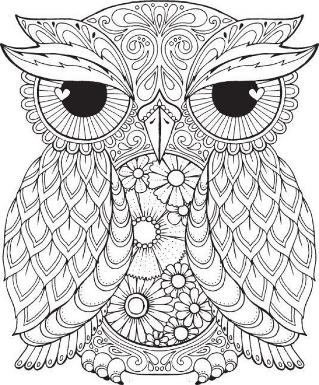 626x755 Free Difficult Coloring Picture Of An Owl To Print For Adults