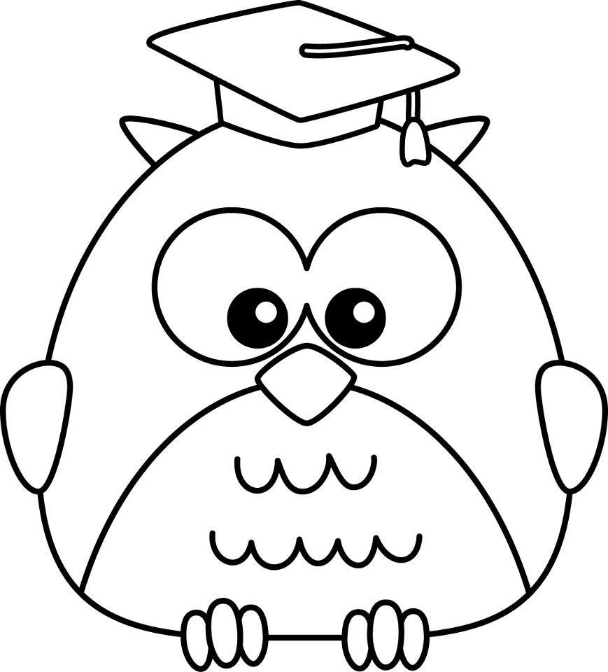 869x960 Cute Owl Coloring Pages