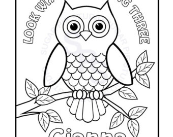 340x270 Owl Coloring Page Etsy