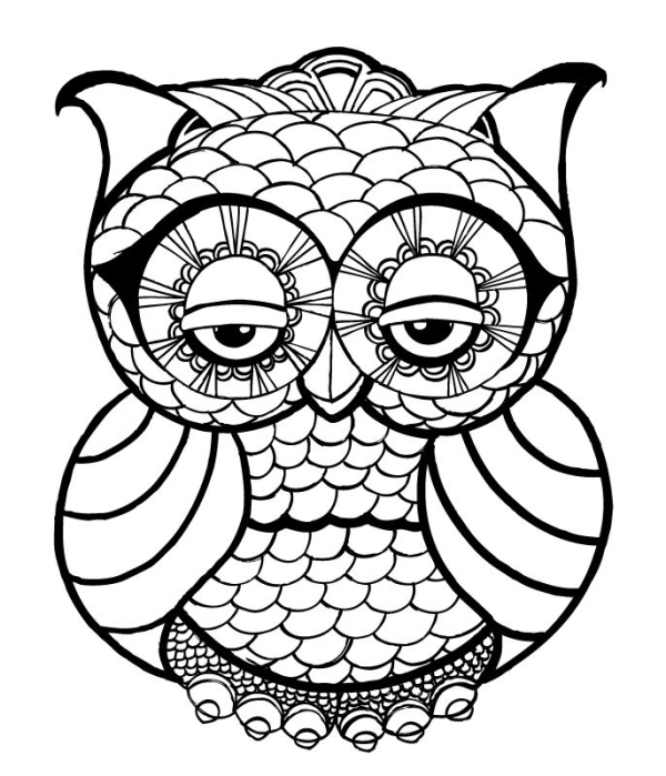 600x699 Owl Coloring Pages For Kids Printable In Adults