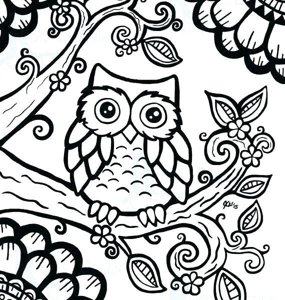570x600 Cute Owl Coloring Pages To Print