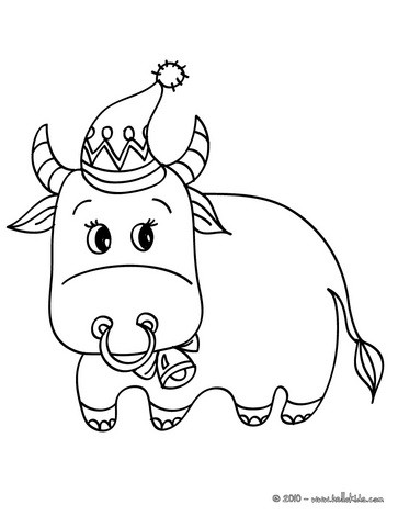 363x470 Decorated Ox Coloring Pages