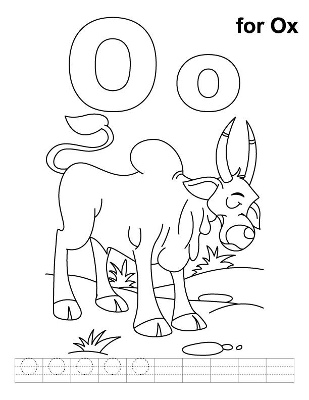 612x792 O For Ox Coloring Page With Handwriting Practice Download Free O