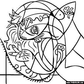 290x290 Pablo Picasso Coloring Pages Fun Time