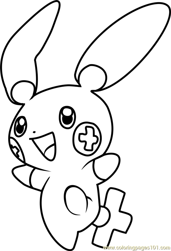 545x800 Plusle Pokemon Coloring Page