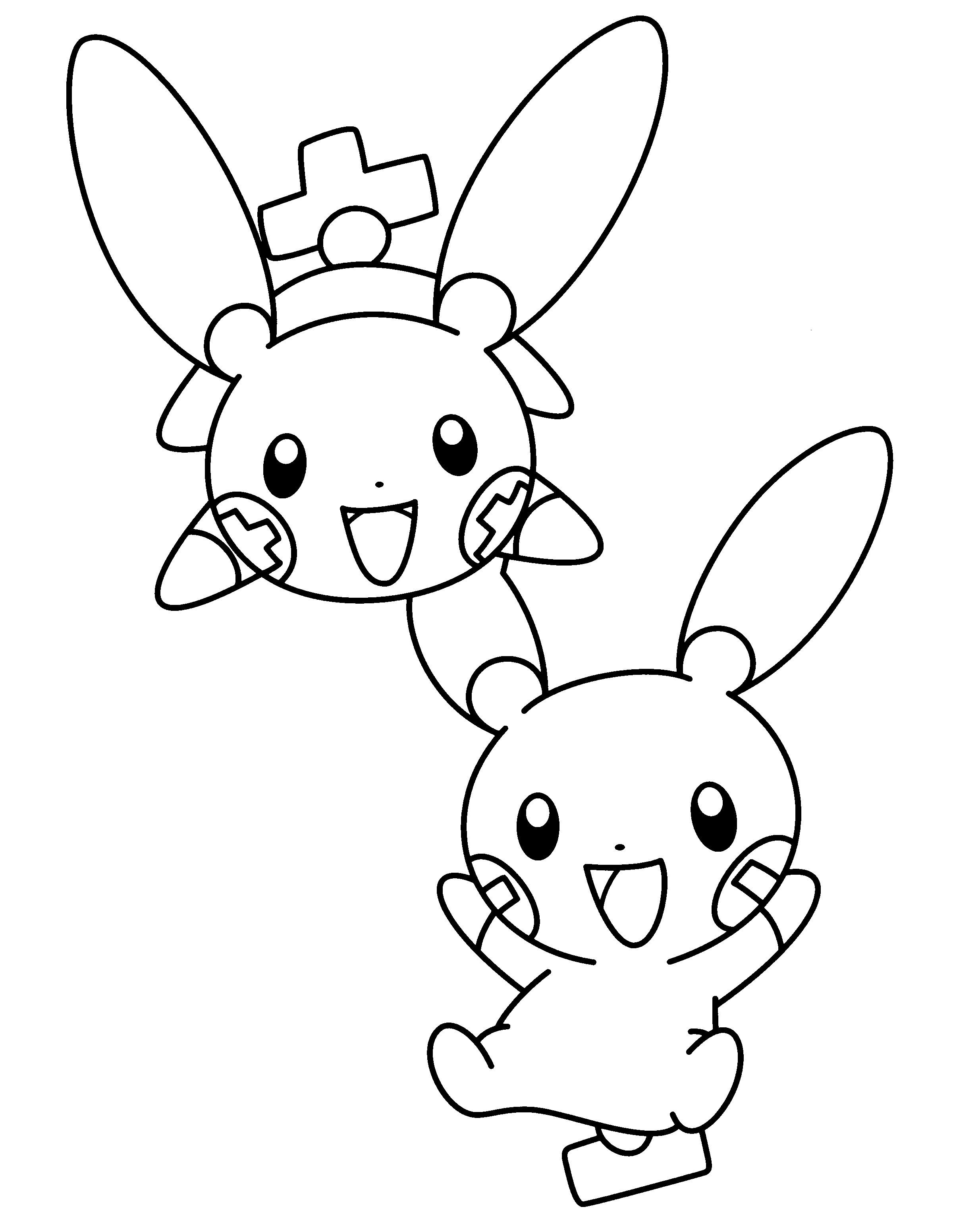 2400x3100 Plusle And Minun Coloring Pages To Print Free Coloring Sheets