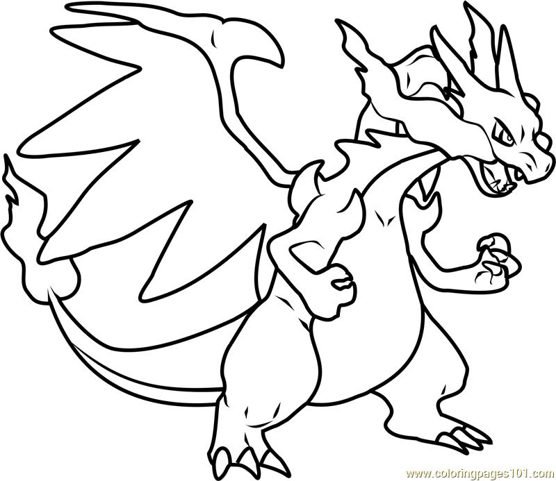 800x693 Mega Charizard X Pokemon Coloring Page