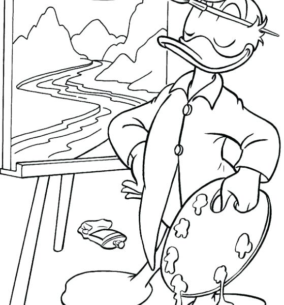 559x600 Palette And Brushes Coloring Page Free Painting Pages Intended