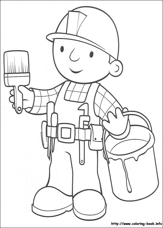 567x794 Bob The Builder Coloring Picture With Paint Bucketpaintbrush
