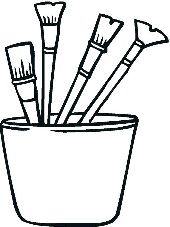 570x760 Paint Brush Coloring Page Simplified Paint Brush Coloring Page